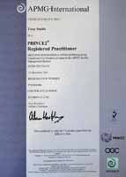 PRINCE2 Practioner Certificate for Tony Smith, Housing specialist in many HMS, such as ActiveH, openHousing, Academy, Omniledger, Miracle, Promaster, Codeman and others